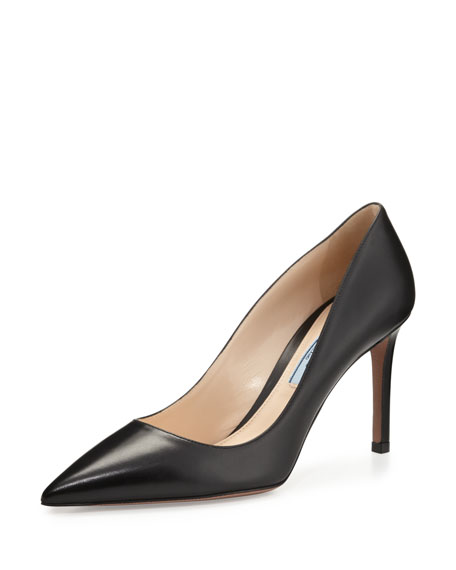 Prada Leather Pointed-Toe 85mm Pump, Black (Nero)