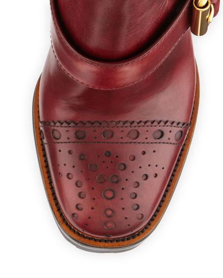 Cap-Toe Leather Chelsea Boot, Amaranto