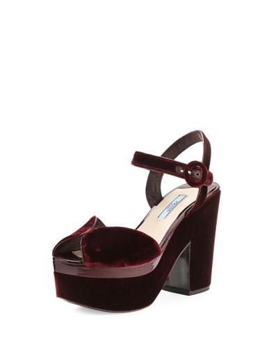 Patent-Trim Velvet Platform Sandal, Bordeaux