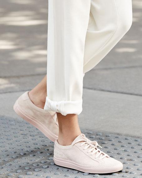Achilles Suede Low-Top Sneaker, Blush