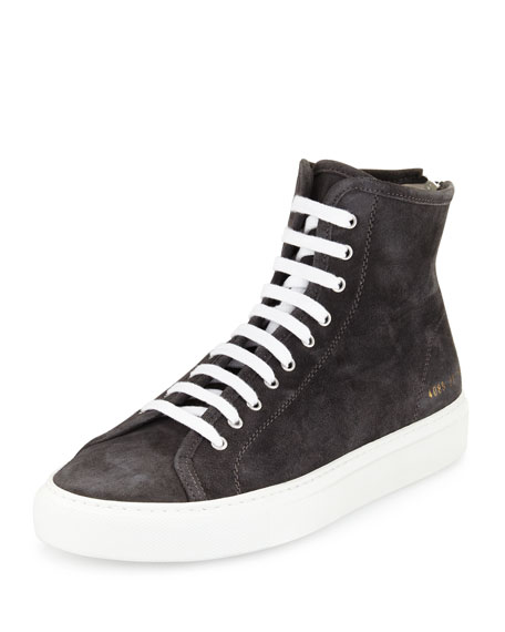 Common Projects Tournament Suede High-Top Sneaker, Dark Gray