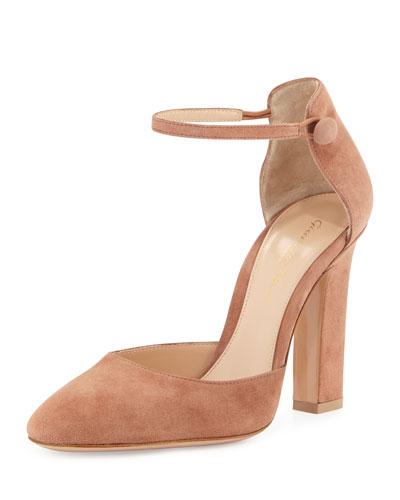 Suede d'Orsay Ankle-Wrap Pump, Praline