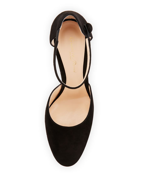 Suede d'Orsay Ankle-Wrap Pump, Black