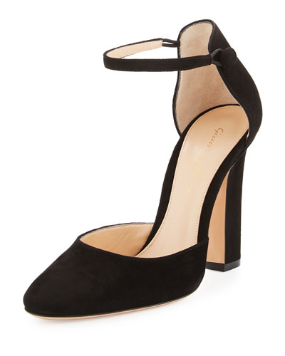 Suede d'Orsay Ankle-Wrap Pump, Black