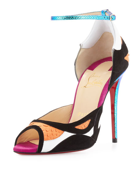 Discodeporte Python/Suede Red Sole Pump, Orange/Multi