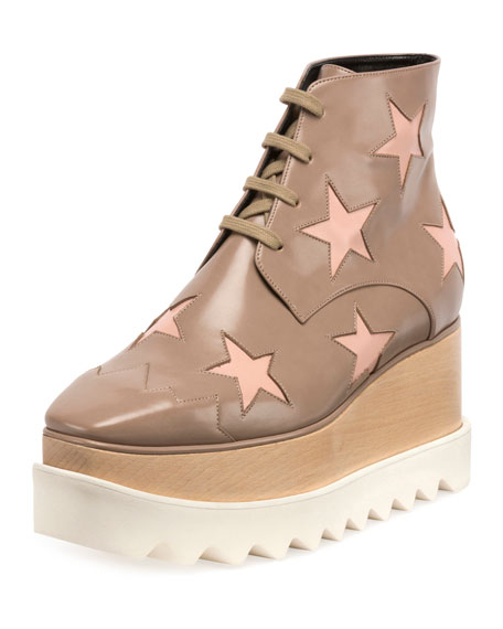 Elyse Star Platform Ankle Boot, Taupe/Tea Rose