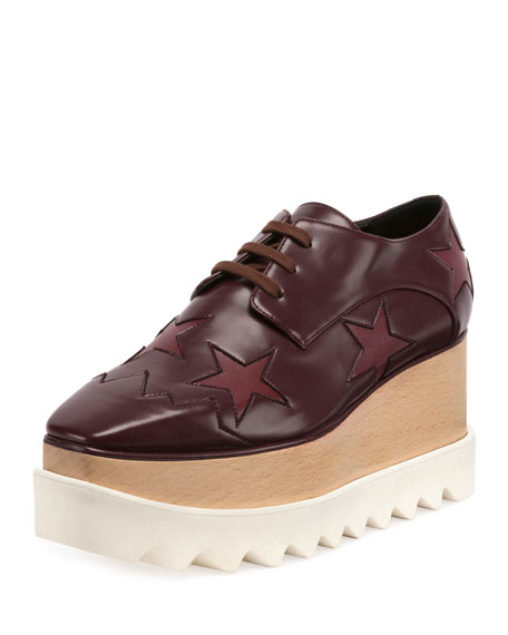 Stella McCartney Elyse Star Platform Creeper, Bordeaux/Plum