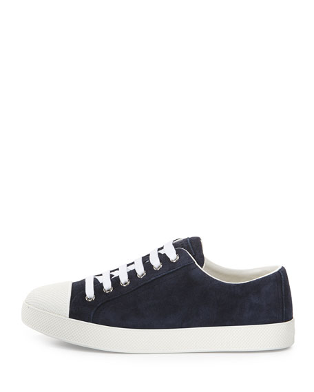 Suede Cap-Toe Low-Top Sneaker, Baltico