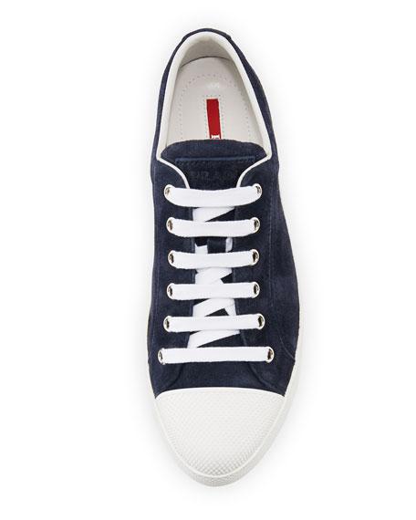 Suede Cap-Toe Low-Top Sneaker, Baltico