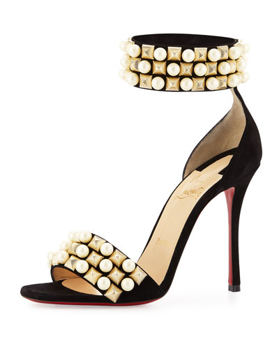 Tudor Studded Red Sole d'Orsay Sandal, Black