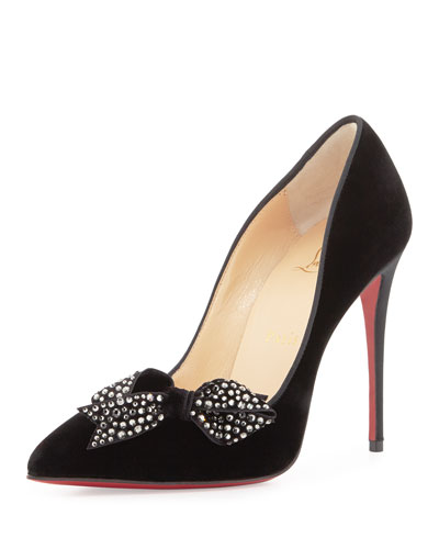 Mlle Menule Velvet 100mm Red Sole Pump, Black