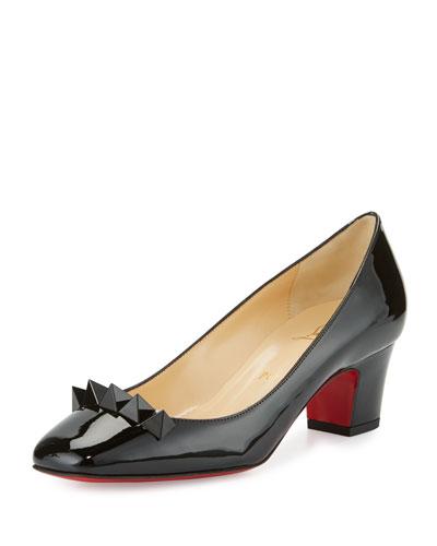 Pyramidame Block-Heel Red Sole Pump, Black