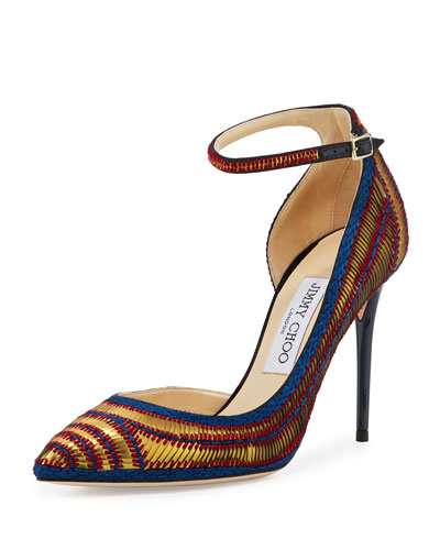 Lucy Sequined Half-d'Orsay Pump, Navy