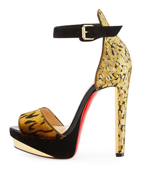 Velvet Ankle-Wrap 140mm Red Sole Sandal, Black