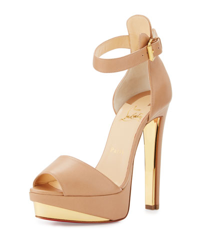 Tuctopen Leather Platform Red Sole Sandal, Nude/Gold