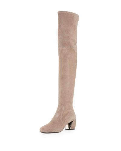 Suede Metal-Heel Over-The-Knee Boot, Argilla