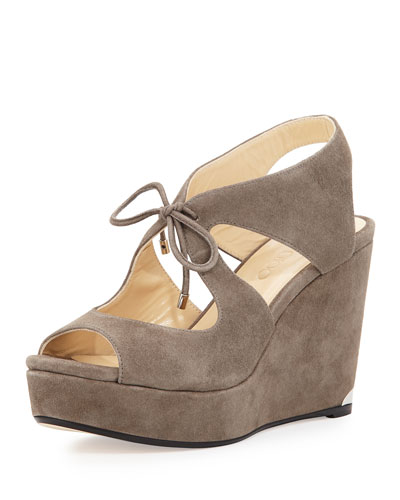 Nayeem Suede Tie Wedge Sandal, Taupe Gray