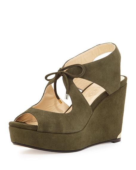 Nayeem Suede Tie Wedge Sandal, Army Green