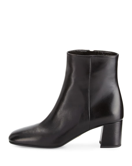 Prada Leather Square-Toe 55mm Ankle Boot, Black (Nero)