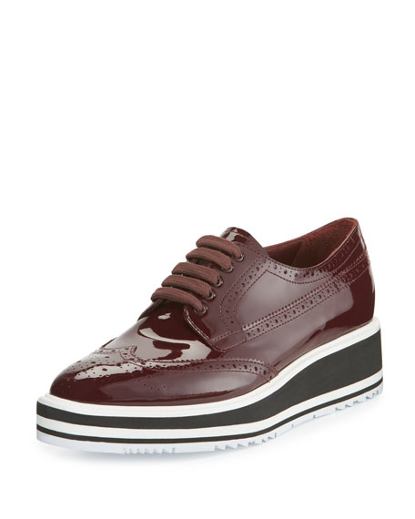 Patent Leather Lace-Up Creeper, Garnet (Granato)