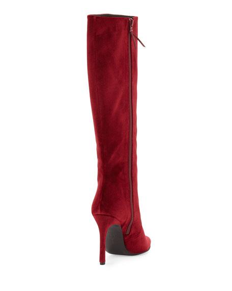 Stuart Weitzman Hyper Pointed-Toe Velvet Knee Boot, Scarlet