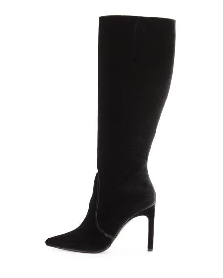 Hyper Pointed-Toe Velvet Knee Boot, Smoke