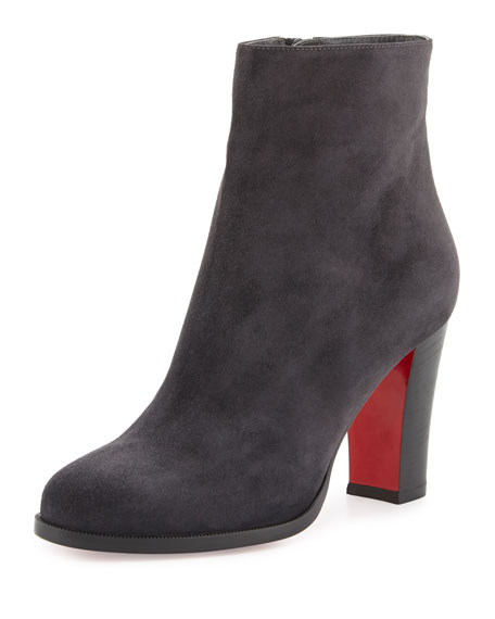 Suede Red Sole Ankle Boot, Charcoal Gray