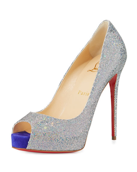 Christian LouboutinNew Very Prive Glitter 120mm Red Sole Pump, Multi/Purple  Pop
