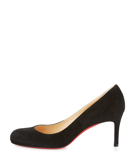 Simple Suede 70mm Red Sole Pump, Black