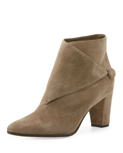 Diaz Suede Wrap Low-Heel Bootie, Taupe