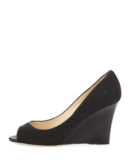 Baxen Chain-Fabric Peep-Toe Wedge Pump, Black