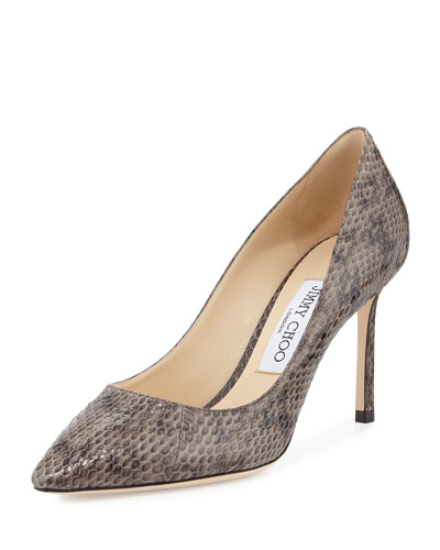 Romy Snakeskin 85mm Pump, Taupe Gray