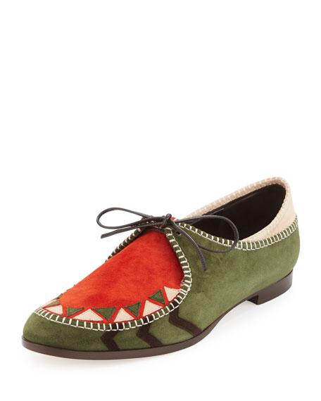 Manolo Blahnik Eskima Colorblock Moccasin Loafer, Green/Rust