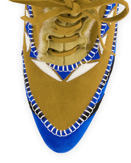 Eskima Suede Moccasin Ankle Boot, Francia Blue