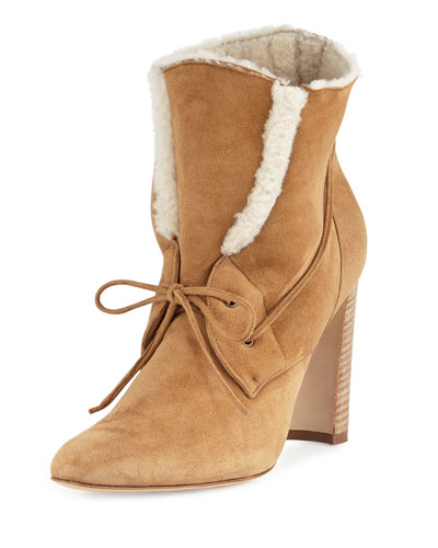 Ostrava Shearling 105mm Ankle Boot, Camel