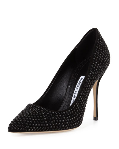 BB Pearly Suede 105mm Pump, Black