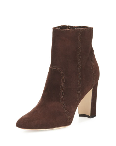 Manolo Blahnik Rubio Suede 90mm Ankle Boot, Brown
