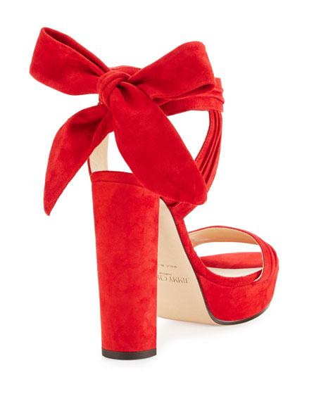 Jimmy Choo Kaytrin Suede 120mm Platform Sandal, Red