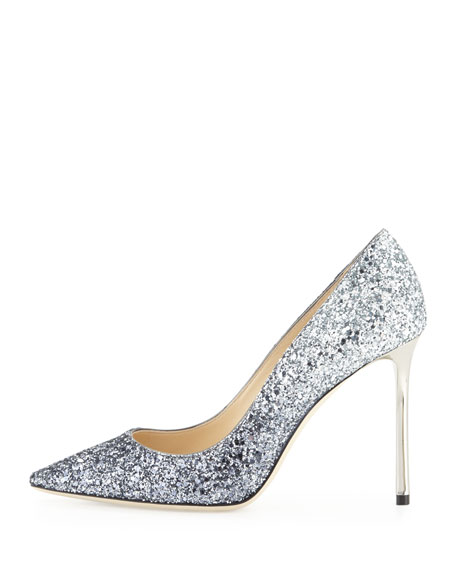 Romy Glitter Pointed-Toe 100mm Pumps, Navy/Silver