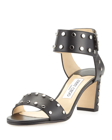 Jimmy Choo Veto Studded Leather 65mm Sandal, Black/Silver