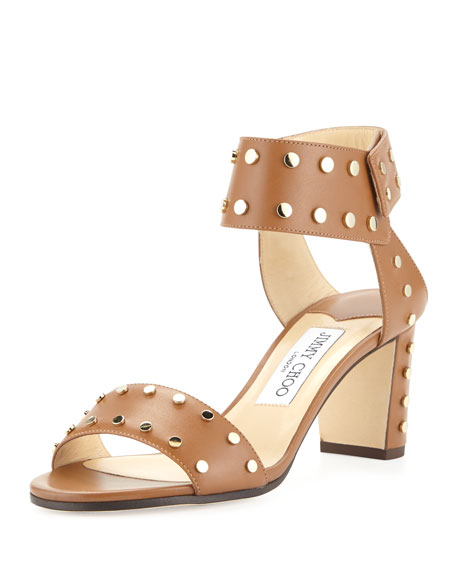 Jimmy Choo Veto Studded Leather 65mm Sandal, Canyon/Gold