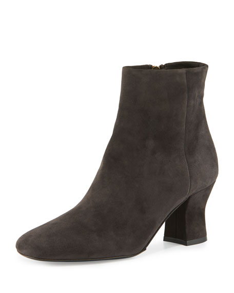 THE ROW Bowin Suede Ankle Boot, Pewter