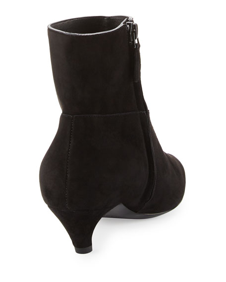 Suede Crooked-Heel Ankle Boots, Noir
