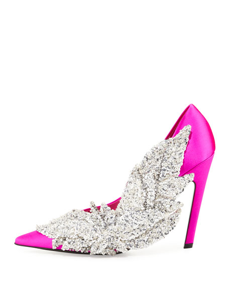 Crystal Satin 110mm Pump, Rose Fuchsia