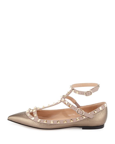 Rockstud Caged Ballerina Flat, Sasso/Poudre