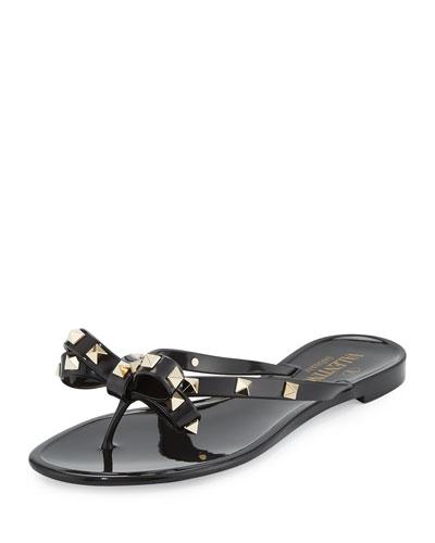 Rockstud Flat PVC Thong Sandal, Black (Nero)