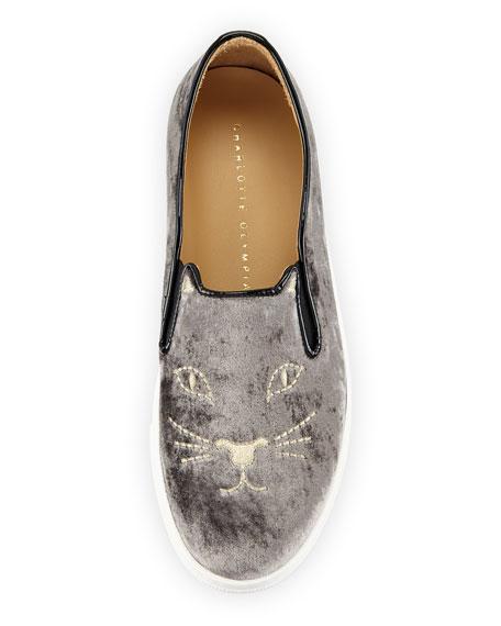 Cool Cats Velvet Slip-On Sneaker, Anthracite
