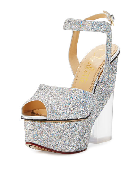 Charlotte Olympia Leandra Glitter Platform Sandal, Silver