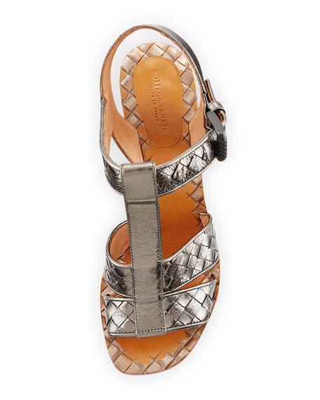 Intrecciato T-Strap 80mm Sandal, Argento Antique