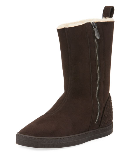 Bottega Veneta Shearling Fur-Lined Skate Boot, Espresso